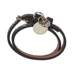 Alexander McQueen Black Printed Leather Skull Charm Double Wrap Bracelet