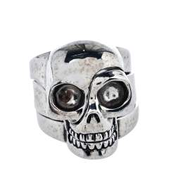 Alexander McQueen Silver Tone Divided Skull Ring Size EU 61/IT 21