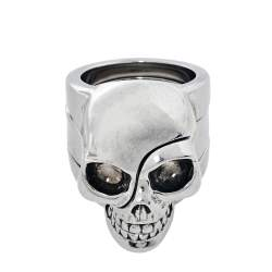 Alexander McQueen Silver Tone Divided Skull Ring Size 19