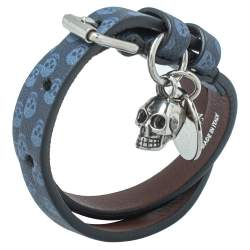 Alexander McQueen Blue Skull Print Leather Double Wrap Bracelet