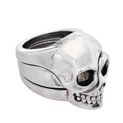 Alexander McQueen Divided Skull Silver Tone Ring Size 21