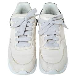 Alexander McQueen Ivory/Black Leather Platform Sneakers Size 40