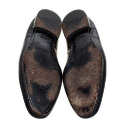 Alexander McQueen Black Patent Embossed Skull Detail Smoking Slippers Size 44