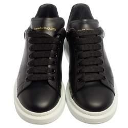 Alexander McQueen Black Leather Larry Low Top Sneaker Size 42.5