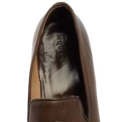 Alexander Mcqueen Brown Leather Skull Detail Smoking Loafers Size 43