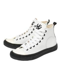 Alexander McQueen White Leather Plimsoll High Sneakers Size 40
