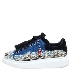 Alexander McQueen Multicolor Printed Canvas And Suede Oversized Sneakers Size 40
