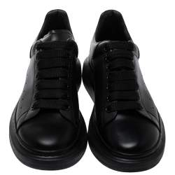 Alexander McQueen Black Leather Oversized Low Top Sneakers Size 40
