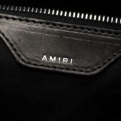 Amiri Wash Blue/Black Paint Denim and Leather Splatter Backpack