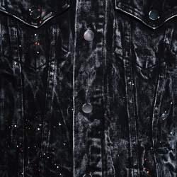 Amiri Black Acid Washed & Distressed Denim Stripe Detail Jacket S