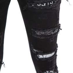 Amiri Black Denim Art Patch Distressed Skinny Jeans M