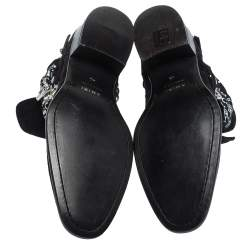 Amiri Black Suede Bandana Buckle Ankle Boots Size 42