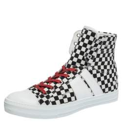 Amiri White/Black Checkered Canvas Sunset High Top Sneakers Size 42