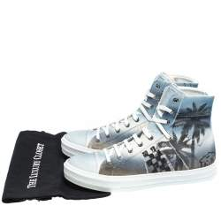 Amiri Multicolor Palm Tree Canvas Sunset High Top Sneakers Size 42
