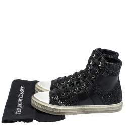 Amiri Black Glitter and Leather Vintage Sunset High Top Sneakers Size 42