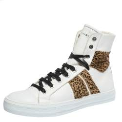 Amiri White/Brown Leather and Leopard Print Calfhair Sunset High Top Sneakers Size 42