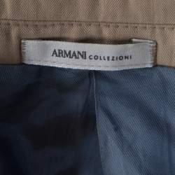 Armani Collezioni Beige Herringbone Linen Wool Tailored Blazer L