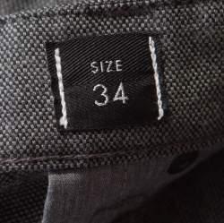 Armani Collezioni Textured Grey Medium Rise Straight and Tight Leg J15 Trousers L