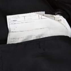 Armani Collezioni Charcoal Grey Herringbone Wool Three Button Blazer XL