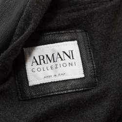 Armani Collezioni Black Leather Zip Front Jacket 3XL