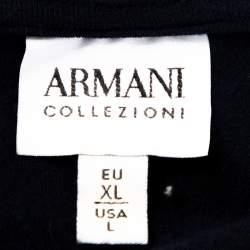 Armani Collezioni Navy Blue Knit Stripe Detail Polo T-Shirt XL