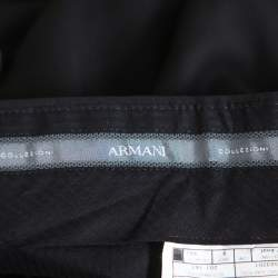 Armani Collezioni Black Wool Side Stripe Detail Straight Leg Trousers 4XL