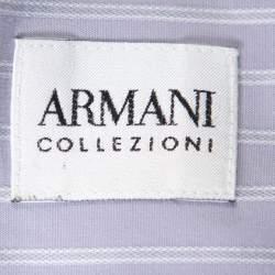 قميص أرماني كوليزيوني قطن بنفسجي مخطط بأزرار أمامية مقاس كبير - لارج