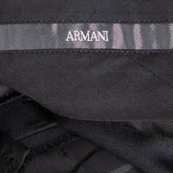 بنطلون أرماني كوليزوني أرجل مستقيمة صوف أسود مقاس كبير (لاارج)