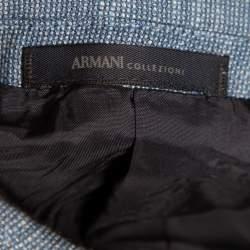 Armani Collezioni Blue Wool & Cotton Button Front Blazer M