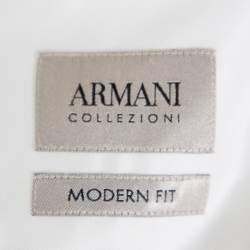 Armani Collezioni White Cotton Twill Button Front Modern Fit Shirt XL