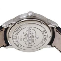 Audemars Piguet Silver White Stainless Steel Leather Millenary Limited Edition Maseratti Anniversary 90 Men's Wristwatch 47 mm