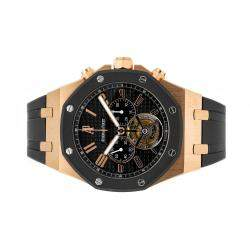 Audemars Piguet Black 18K Rose Gold Royal Oak Offshore Tourbillon Chronograph 26257OK.OO.D002CA.01 Men's Wristwatch 44 MM