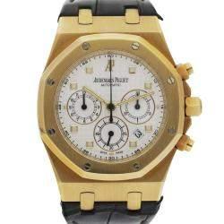 Audemars Piguet Silver 18K Yellow Gold Royal Oak 26022BA Chronograph Men's Wristwatch 39 MM