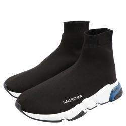 Balenciaga Black/White Speed Clear Sole Sneakers Size 44