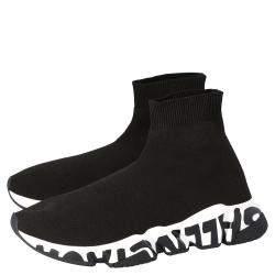Balenciaga Black Knit Speed Graffiti Sole Sneakers Size EU 41