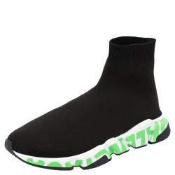 Balenciaga Black/White/Green Speed Graffiti Sneakers Size EU 42