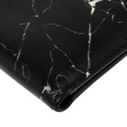 Balenciaga Black Marble Print Leather Bifold Wallet