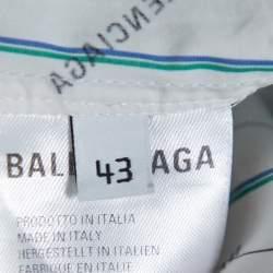Balenciaga White Cotton Allover Logo Patch Short Sleeve Oversized Shirt XXL