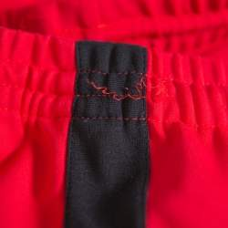 Balenciaga Red Knit Contrast Trim Detail Cropped Tracking Pants S