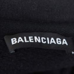 Balenciaga Dark Grey Cotton Logo Embroidered Drop Shoulder Oversized Sweatshirt M