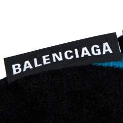 Balenciaga Blue & Black Striped Velvet Knit Drop Shoulder Oversized Long Jumper S
