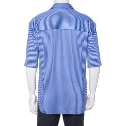 Balenciaga Blue Striped Knit Hi-Low Hem Oversized Shirt XS