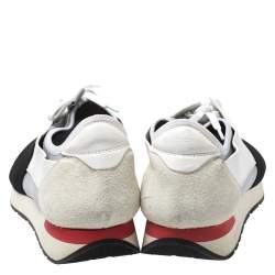 Balenciaga White/Black Suede Leather And Mesh Race Runner Sneakers Size 43
