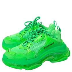 Balenciaga Neon Green Mesh And Leather Triple S Platform Sneakers Size 41