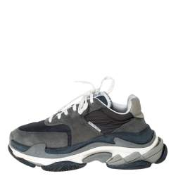 Balenciaga Multicolor Leather/Mesh Triple S Lace Up Sneakers Size 40