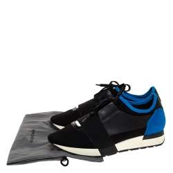 Balenciaga Black/Blue Leather And Mesh Race Runners Sneakers Size 41