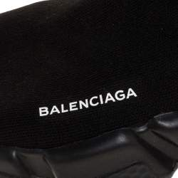 Balenciaga Black Knit Speed High Top Sneakers Size 40