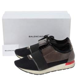 Balenciaga Black/Grey Leather And Mesh Race Runners Low Top Sneakers Size 44