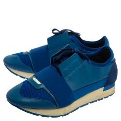 Balenciaga Blue Mesh And Leather Race Runner Low Top Sneakers Size 40