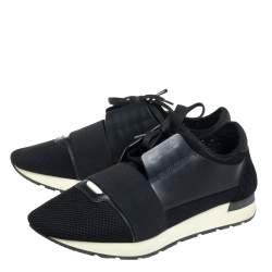 Balenciaga Black Mesh And Leather Race Runner Low Top Sneakers Size 42